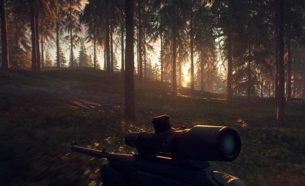 Running in the forest holding a rifle watching the sun rise.