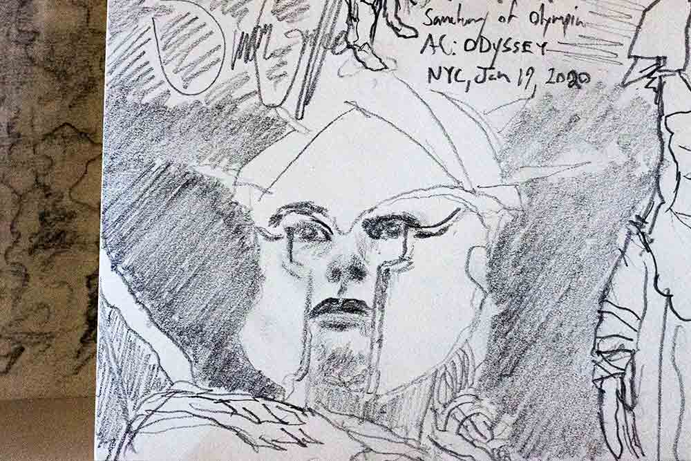 A pencil drawing by Simon Griffee showing a close-up of a woman's face wearing a helmet from Ancient Greece.