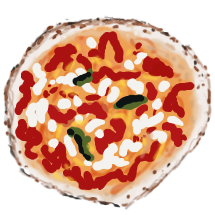 A small painting of a pizza by Hypertexthero.