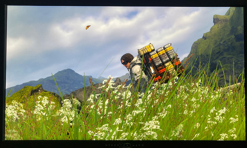 A man with many boxes on his back with a butterfly flying nearby in a field of grass and flowers with mountains and a partly cloudy sky in the distance.