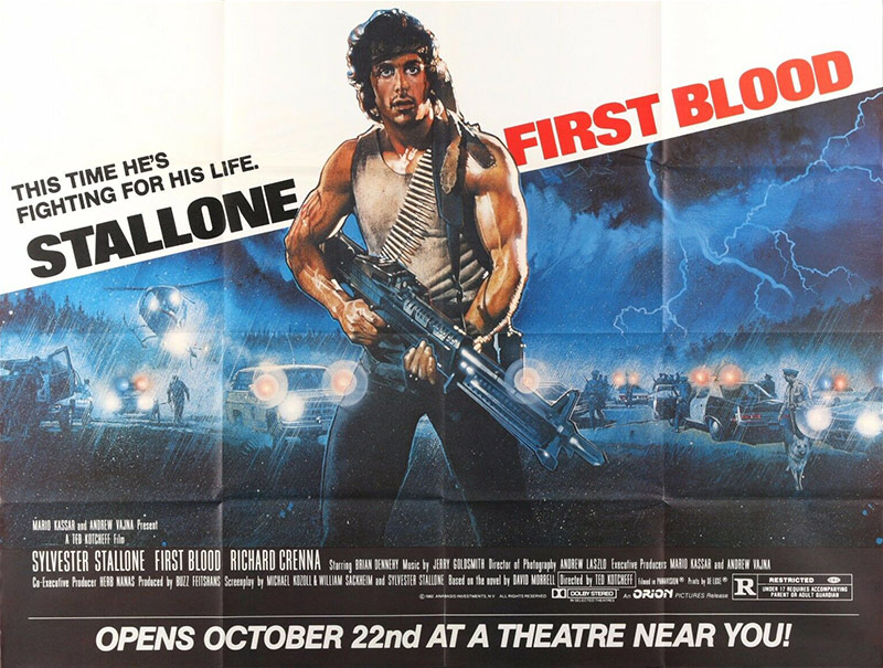 Theatrical release subway poster for the film First Blood.