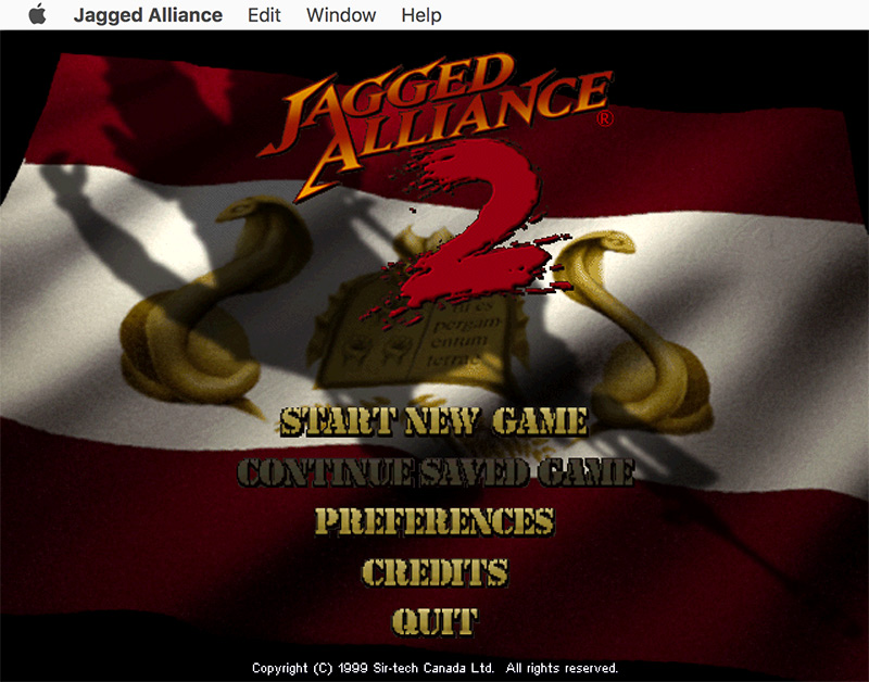 The Jagged Alliance 2 main menu