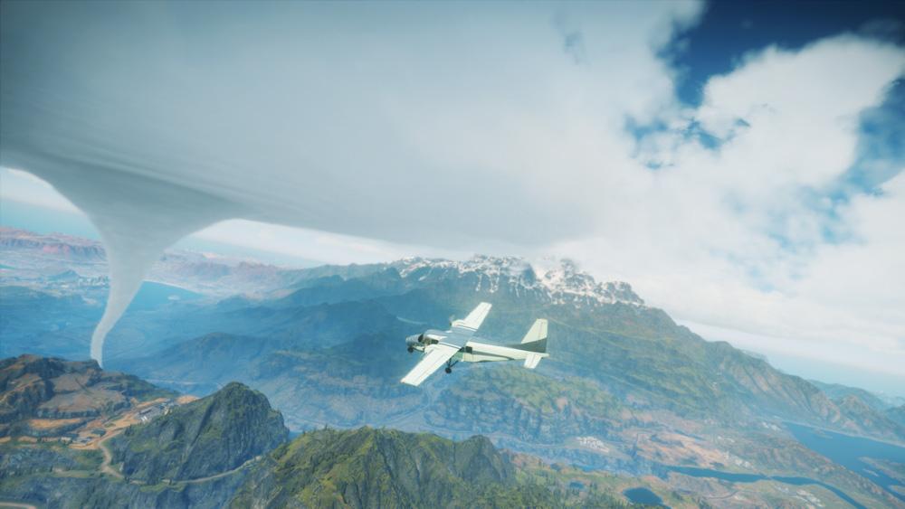 Flying in bluish skies.