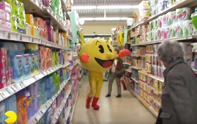 Pac-Man in the supermarket in Remi Gaillard's video.