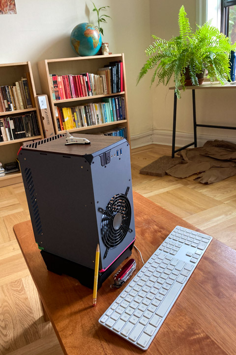 My small form factor PC case, with Swiss Army Knife for size reference.