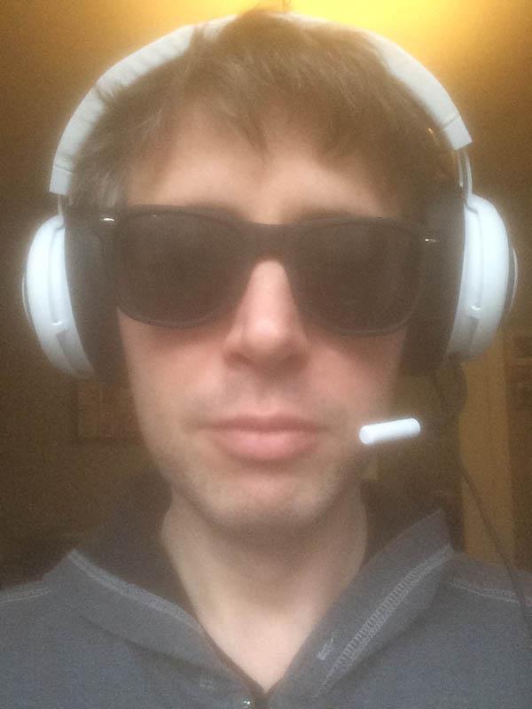 A photo of the author wearing the Razer Kraken headphones.
