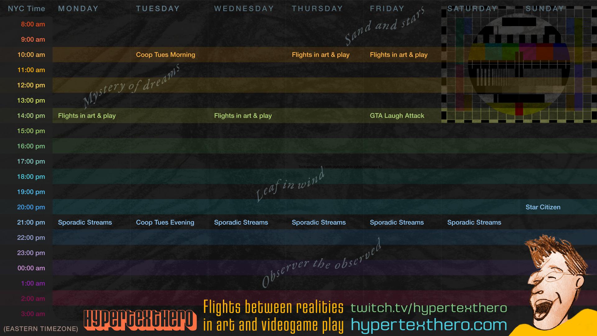 Hypertexthero Twitch Schedule.