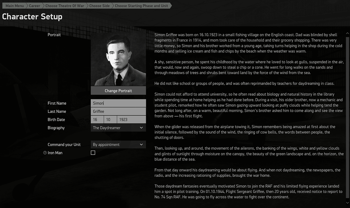 You can choose the name, birth date and biography of your pilot.